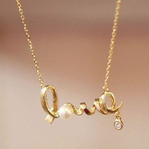 NEW gold plated LOVE necklace